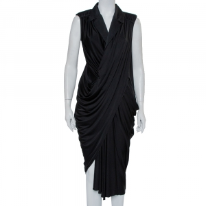Yves Saint Laurent Black Knit Collared Draped Asymmetrical Hem Sleeveless Dress M