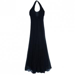 فستان سان لوران باريس ريف جوشي حمالة عنق أسود S