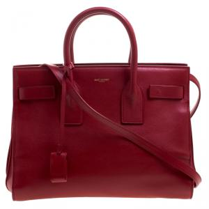 Saint Laurent Paris Red Leather Small Classic Sac De Jour Tote