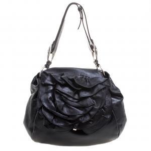 Saint Laurent Paris Black Leather Nadja Rose Petal Hobo