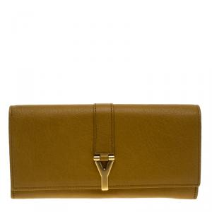Saint Laurent Paris Tan Leather Y Line Flap Wallet