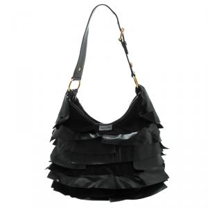 Saint Laurent Black Leather St. Tropez Ruffle Hobo
