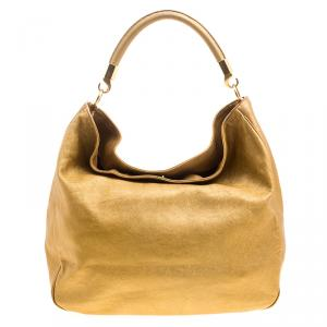 Saint Laurent Gold Leather Roady Hobo