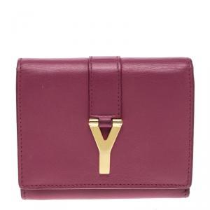 محفظة سان لوران كومباكت Y لاين جلد وردية