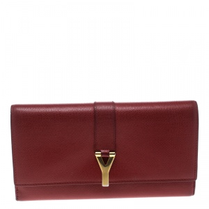 محفظة كونتينيتال سان لوران Y لاين جلد أحمر
