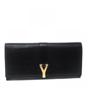 Saint Laurent Black Leather Y Line Continental Wallet