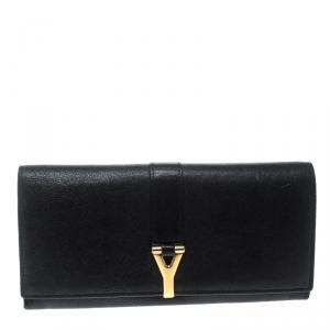 محفظة سان لوران كونتيننتال Y لاين جلد سوداء