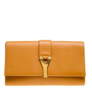 Saint Laurent Tan Leather Belle De Jour Flap Clutch