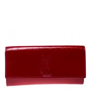 Saint Laurent Red Patent Leather Small Belle De Jour Flap Clutch