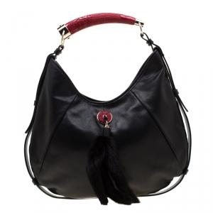 Saint Laurent Black/Red Leather Mombasa Hobo