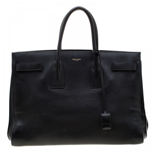 Saint Laurent Black Leather Large Sac De Jour Tote