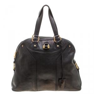 Saint Laurent Black Leather Oversized Muse Satchel