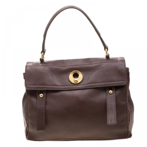 Saint Laurent Dark Brown Leather and Canvas Muse Two Satchel