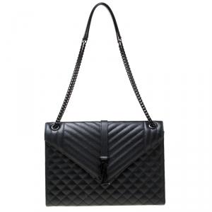 Saint Laurent Black Mix Matelasse Leather Large Cassandre Flap Bag