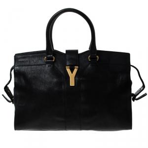 Saint Laurent Paris Black Leather Medium Cabas Chyc Satchel