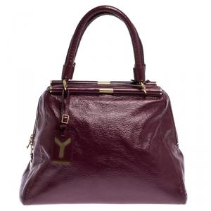 Saint Laurent Burgundy Patent Leather Medium Majorelle Satchel