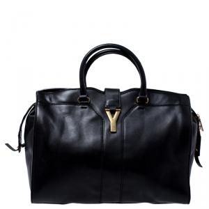 Saint Laurent Black Leather Large Cabas Chyc Satchel