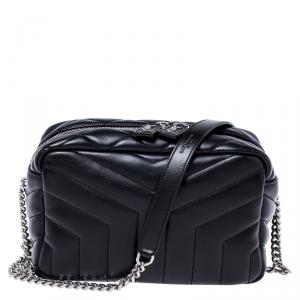 Saint Laurent Black Matelasse Leather Small Lou Lou Bowling Bag