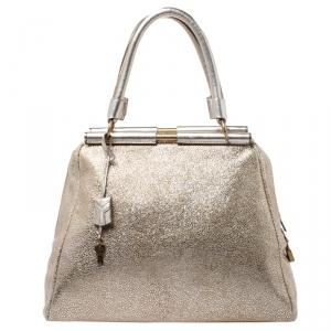 Saint Laurent Metallic Gold Leather Medium Majorelle Tote Bag
