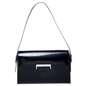 Saint Laurent Paris Black Patent Leather Shoulder Bag