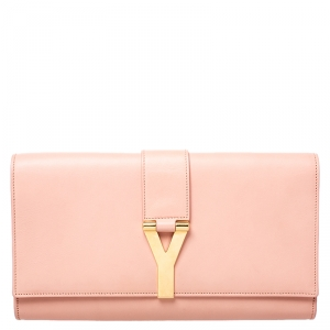 Saint Laurent Paris Blush Pink Leather Y Line Clutch