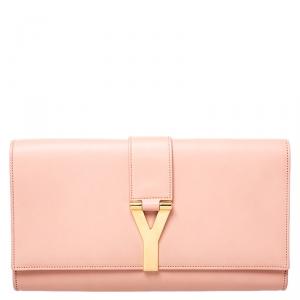 Saint Laurent Paris Blush Pink Leather Y Line Clutch
