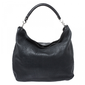 Saint Laurent Black Leather Roady Hobo