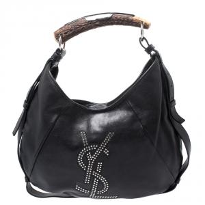 Saint Laurent Paris Black Studded Logo Leather Mombasa Hobo