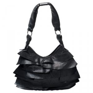 Saint Laurent Paris Black Leather Small St. Tropez Hobo