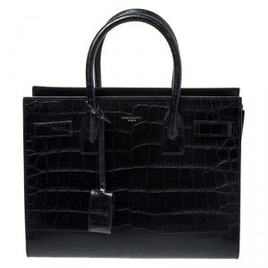 Saint Laurent Black Croc Embossed Leather Baby Classic Sac De Jour Tote