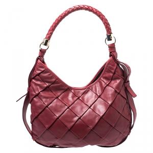 Saint Laurent Paris Red Pleated Leather Hobo