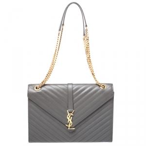 Saint Laurent Grey Matelasse Leather Large Cassandre Flap Bag