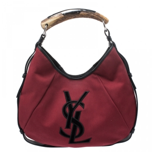 Saint Laurent Red/Black Canvas and Leather Mombasa Horn Hobo