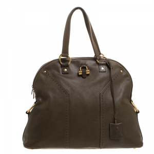 Saint Laurent Olive Green Leather Oversized Muse Bag