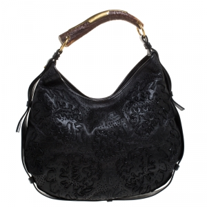 Saint Laurent Paris Black Embroidered Leather Leather Mombasa Hobo