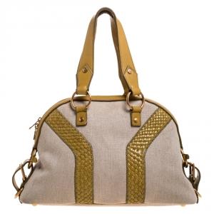 Saint Laurent Paris Beige/Yellow Canvas and Leather Medium Muse Bag