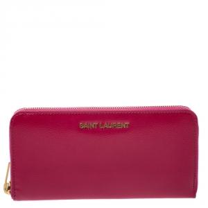 Saint Laurent Fuchsia Patent Leather Zip Around Wallet
