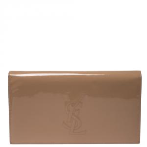 Saint Laurent Nude Patent Leather Belle De Jour Flap Clutch