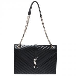 Saint Laurent Black Leather Monogram Envelope Shoulder Bag
