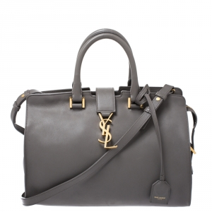Saint Laurent Grey Leather Small Monogramme Cabas Tote