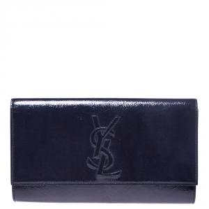 Saint Laurent Navy Blue Patent Leather Belle De Jour Flap Clutch