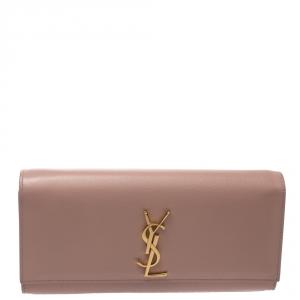 Saint Laurent Pink Monogram Leather Kate Clutch