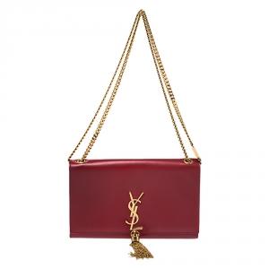 Saint Laurent Red Leather Medium Kate Tassel Shoulder Bag