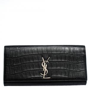 Saint Laurent Paris Black Croc Embossed Leather Kate Monogram Clutch