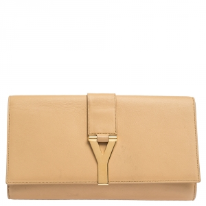 Saint Laurent Paris Beige Leather Y Line Clutch