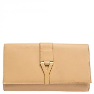 Saint Laurent Paris Beige Leather Y Line Clutch