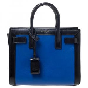 Saint Laurent Blue/Black Leather Nano Classic Sac De Jour Tote