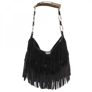 Saint Laurent Paris Black Suede and Leather Fringe Mombasa Hobo