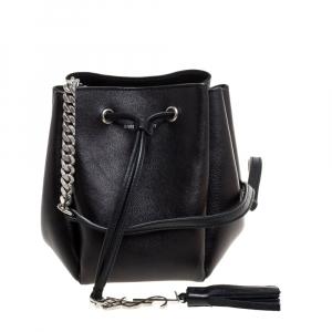 Saint Laurent Black Leather Jen Bucket Crossbody Bag