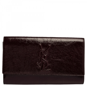 Saint Laurent Burgundy Patent Leather Belle De Jour Flap Clutch